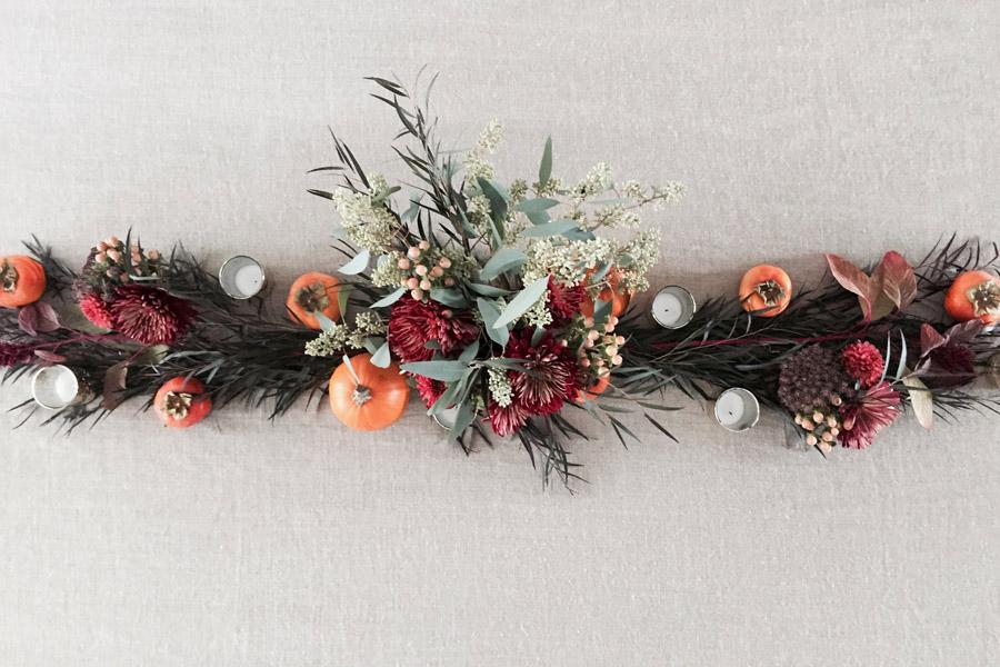 Thanksgiving table centerpiece DIY Erika Brechtel flowers persimmon foliage pumpkins step6