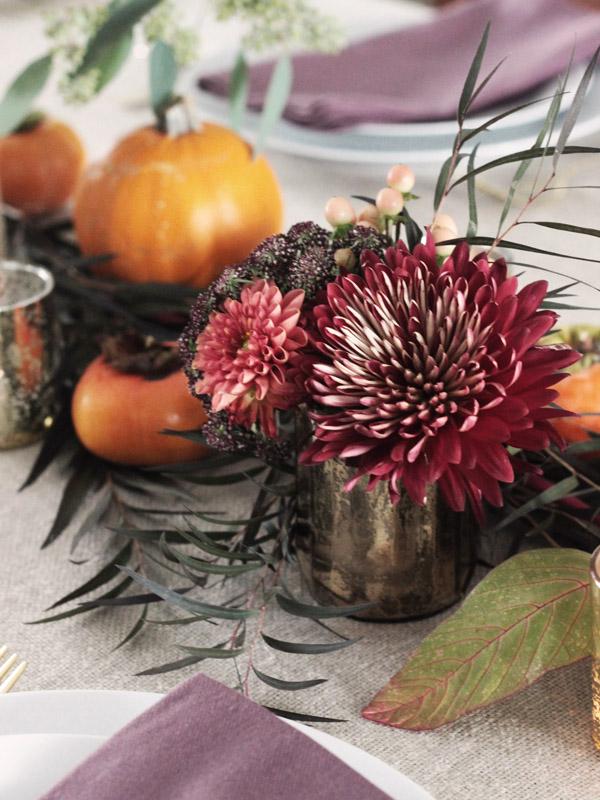 Thanksgiving table centerpiece DIY Erika Brechtel flowers persimmon pumpkin detail