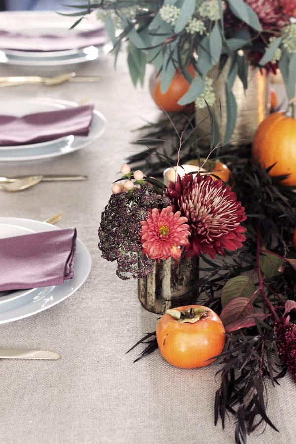 Thanksgiving table centerpiece DIY Erika Brechtel flowers persimmon table