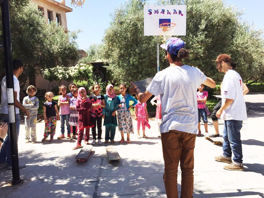 Morocco Marrakech Project Soar exercise confidence Elkelaa skateboarding class