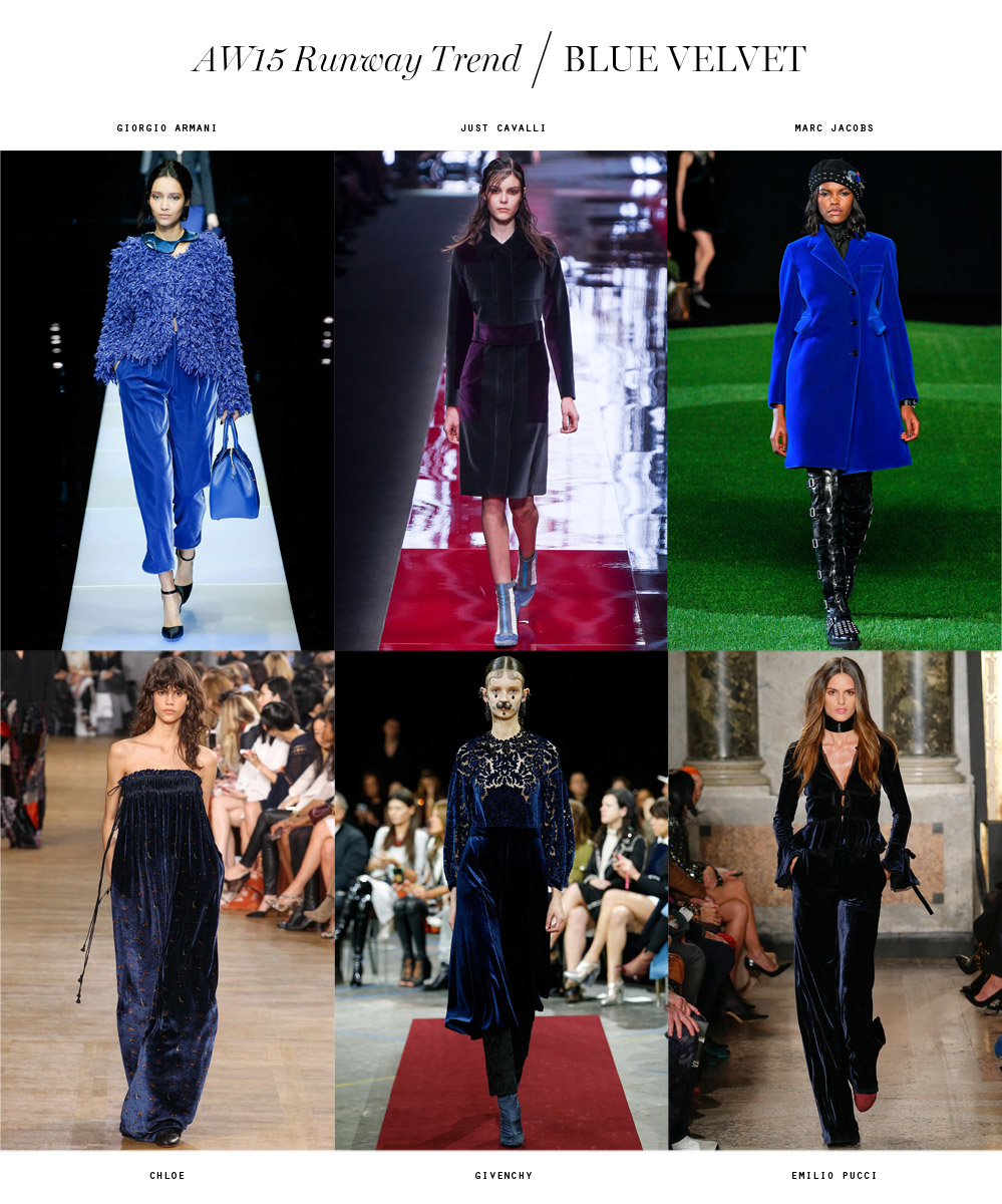 winter 2015 runway trend blue velvet