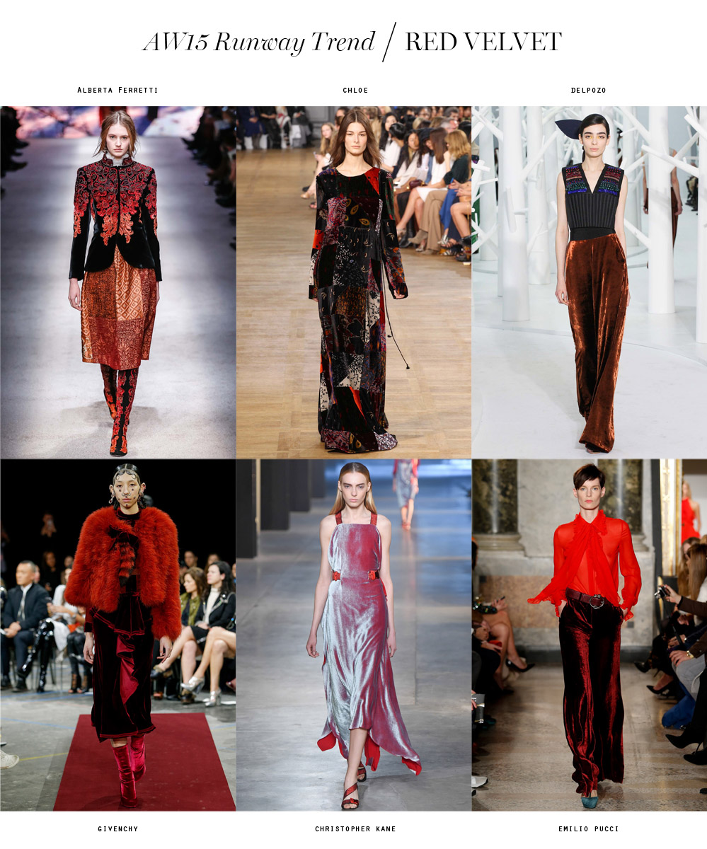 winter 2015 runway trend red velvet