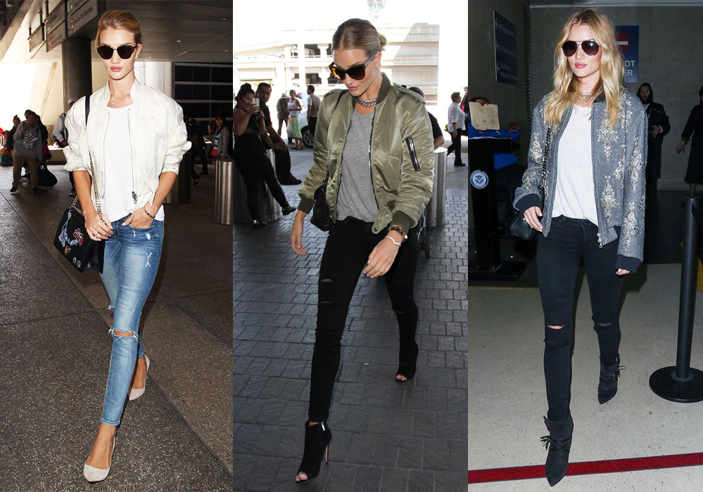 Rosie Huntington Whiteley street style bomber jackets distressed jeans