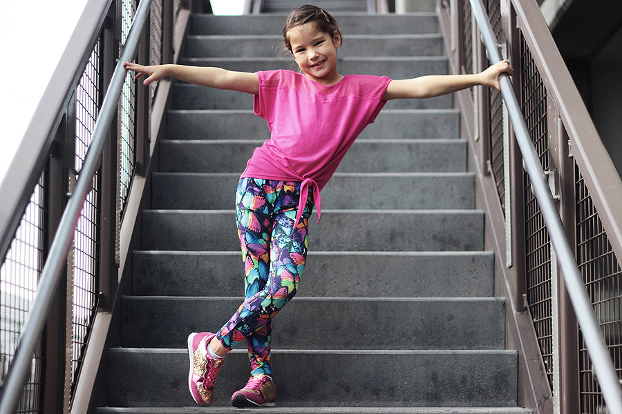 fabkids mini-me activewear Leighton Brechtel track star outfit stairs