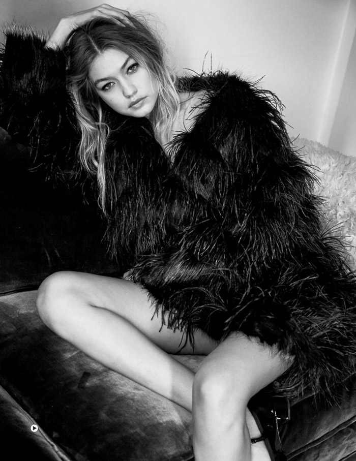 Gigi Hadid by Patrick Demarchelier Vogue UK Jan 2016 shaggy jacket