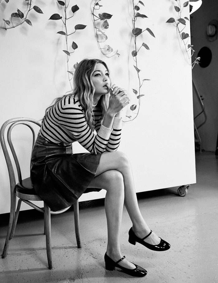 Gigi Hadid by Patrick Demarchelier Vogue UK Jan 2016 striped sweater