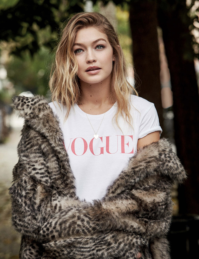 Gigi Hadid by Patrick Demarchelier Vogue UK Jan 2016 vogue tshirt