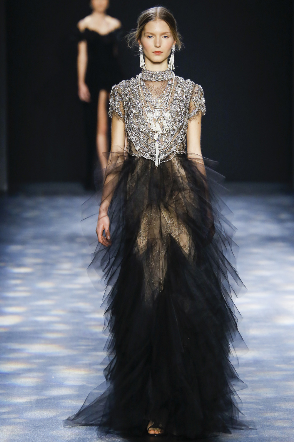 Marchesa AW16 black tuille layered ruffled skirt beaded embroidery silver jeweled deco bodice