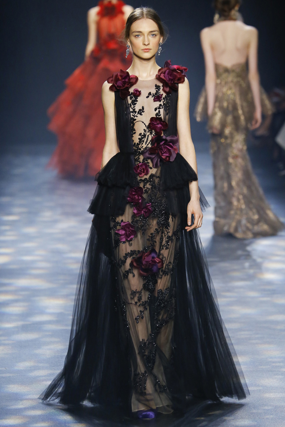 Marchesa AW16 black tulle gown beaded burgundy silk roses