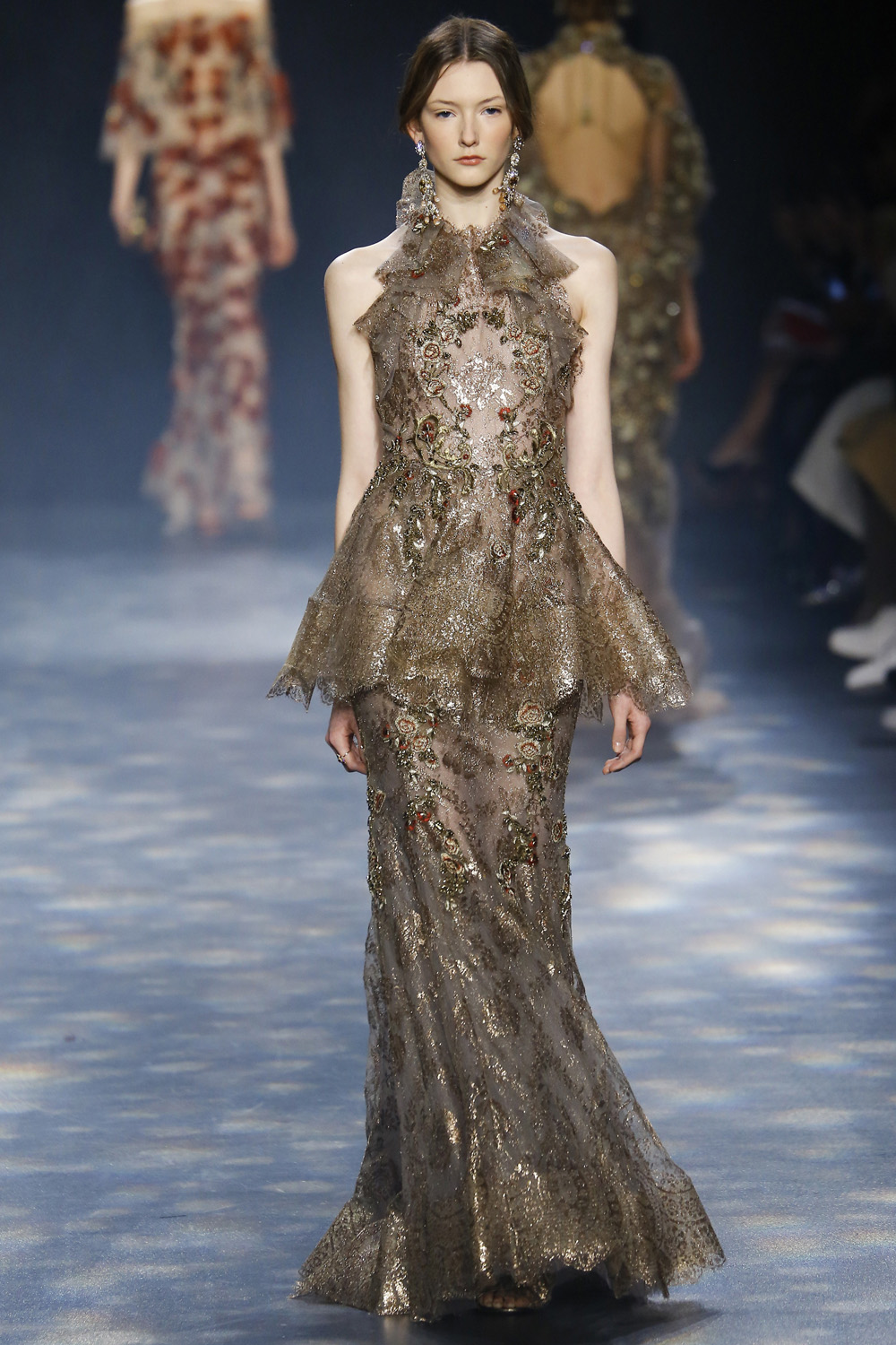 Marchesa AW16 champagne beaded floral embroidered gown