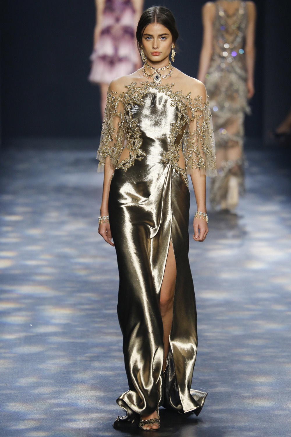 Marchesa AW16 gold silk charmeuse embroidered sleeves gathered waist gown