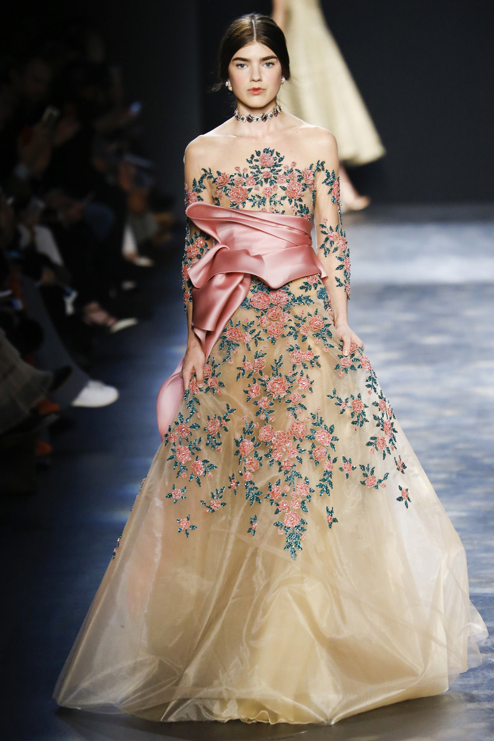 Marchesa AW16 gold silk organza skirt rose beaded embroidery obi waist