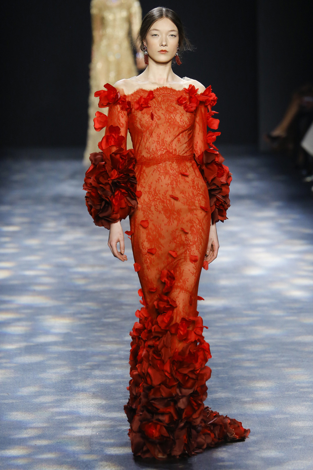Marchesa AW16 red lace overlay rose petal sleeves