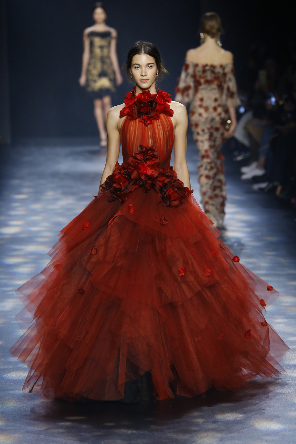 Marchesa AW16 red rose layered tulle full skirt halter gown