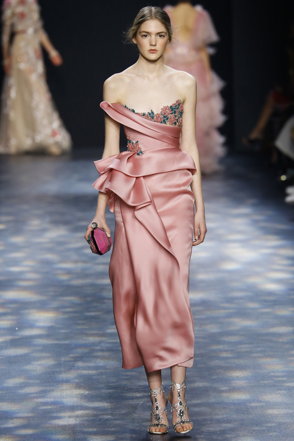 Marchesa AW16 rose silk gathered gown embroidered flower trim