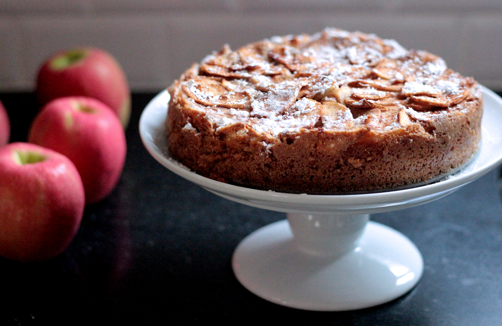 The Mix with Yuki German Apple Cake recipe powered sugar