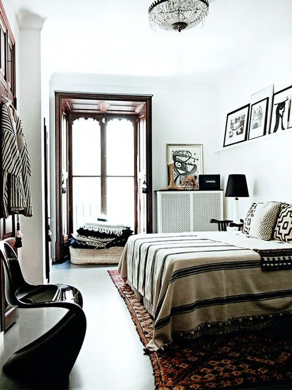 black Panton S chair bedroom textiles Malene Birger Mallorca home via Design Milk