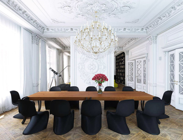 black Panton S chair classical white molding dining room wood parquet floors photo by Nikita Borisenko feat