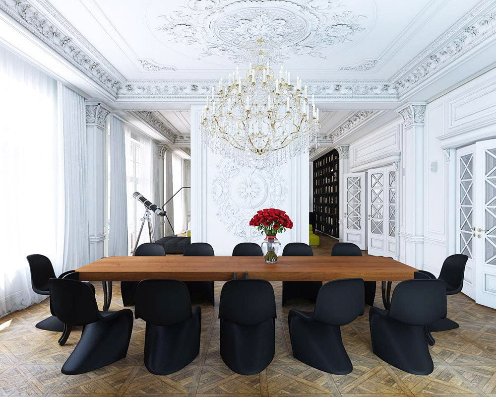 Black chair and white chair - Black Panton S Chair Classical White Molding Dining Room Wood Parquet Floors Photo By Nikita Borisenko