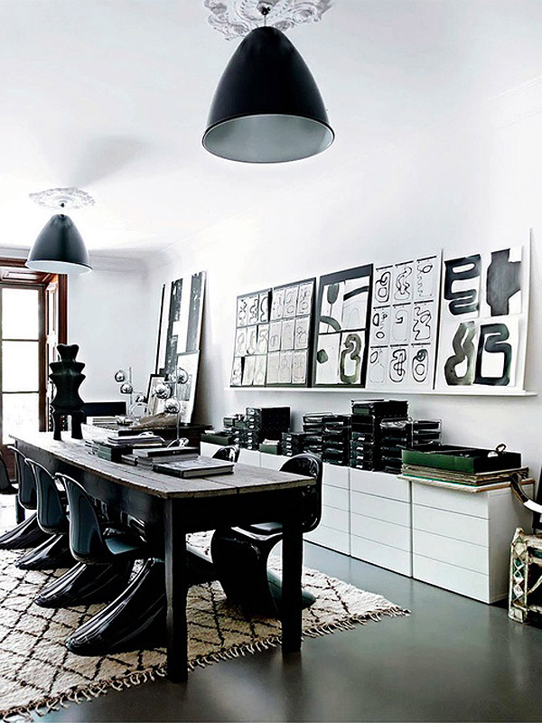 black Panton S chair dining room beni ourain Malene Birger Mallorca home via Habitually Chic