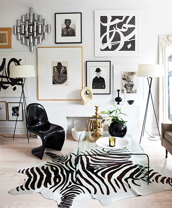 black Panton S chair gallery wall zebra rug by Christine Ralph via House and Home
