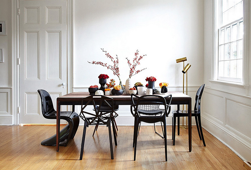 black Panton S chair mixed wood table design by Stephane Chamard photo by Lisa Petrole