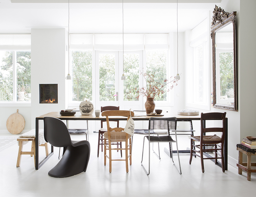 black Panton S chair white dining room wood table mixed chairs by houseofpicturesdk