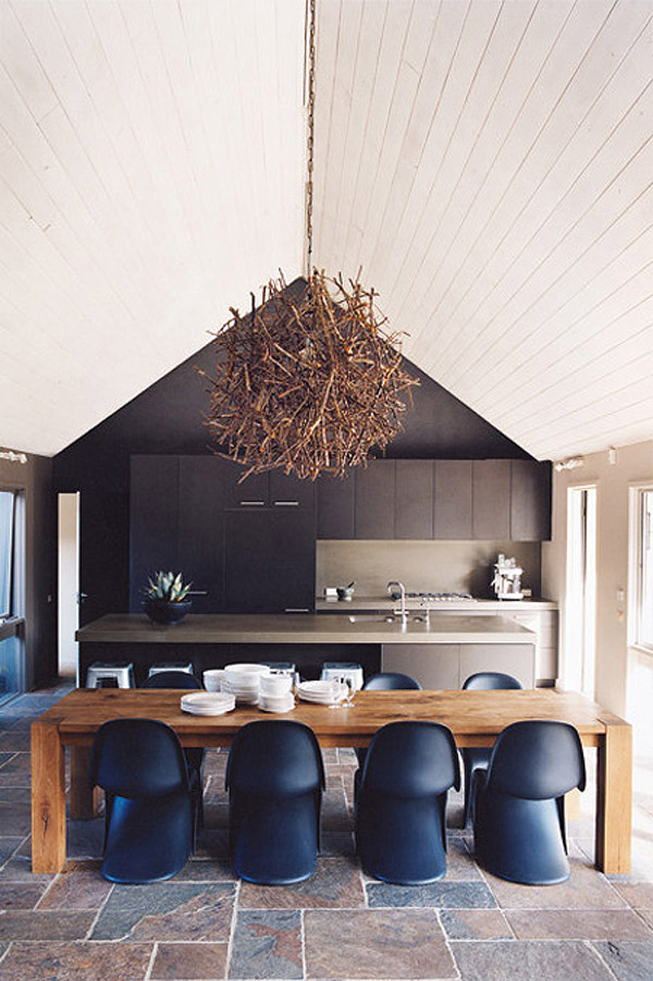black Panton S chair wood table dining room kitchen wood branch pendant by Homelife