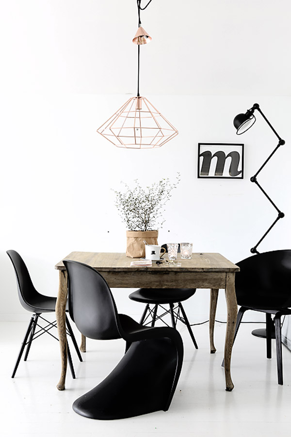 black Panton S chair wood table white floors copper pendant via foreverlove blog