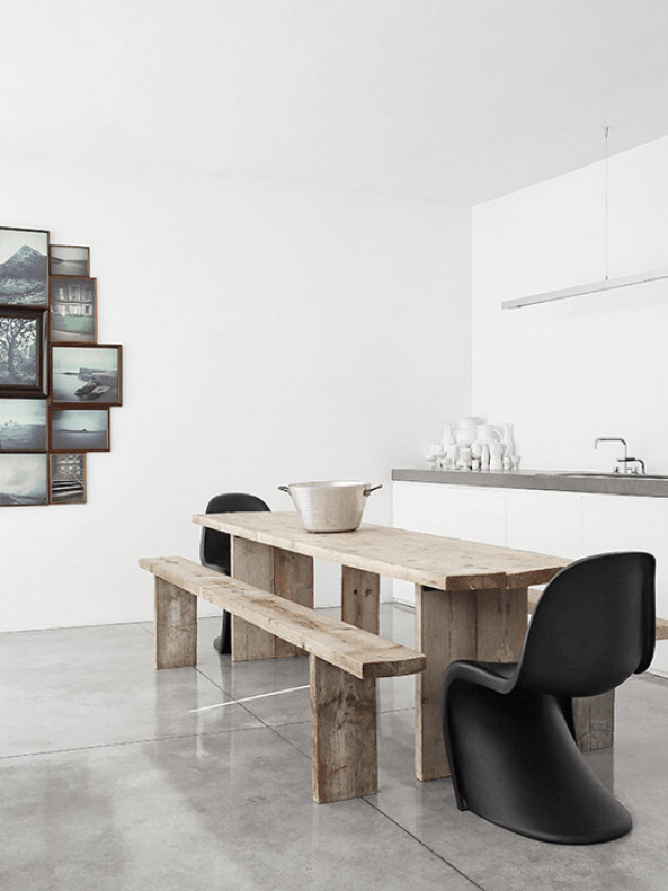 black Panton S chair wood table white kitchen concrete floors by Davide Lovatti