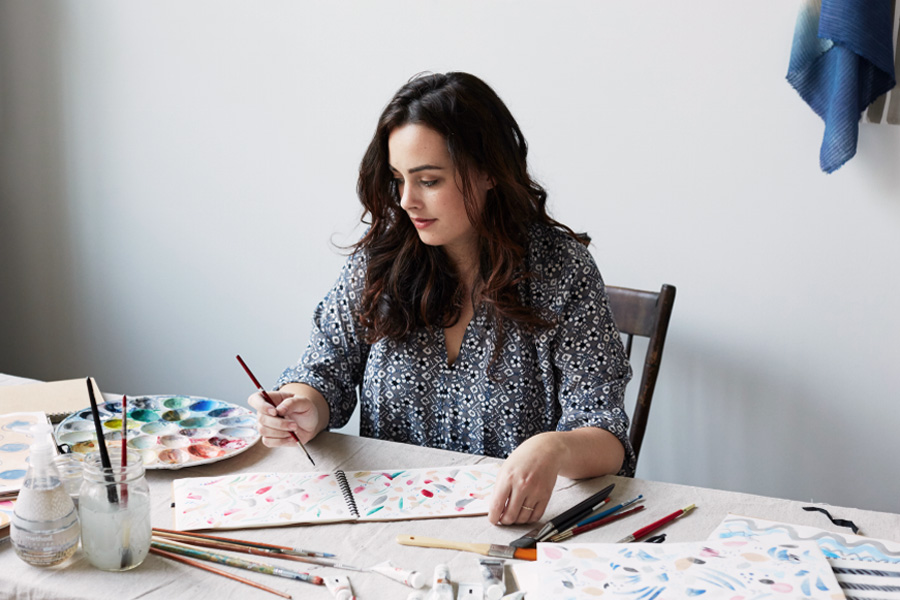 Erika Brechtel client Rebecca Atwood for Method Home artist at work