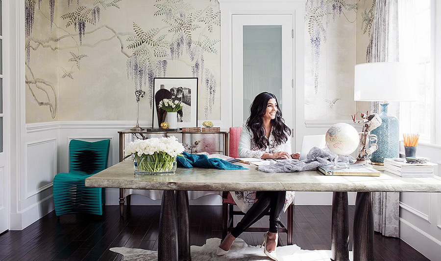 Home office fashion designer rachel roy erika brechtel for Wallpaper home office