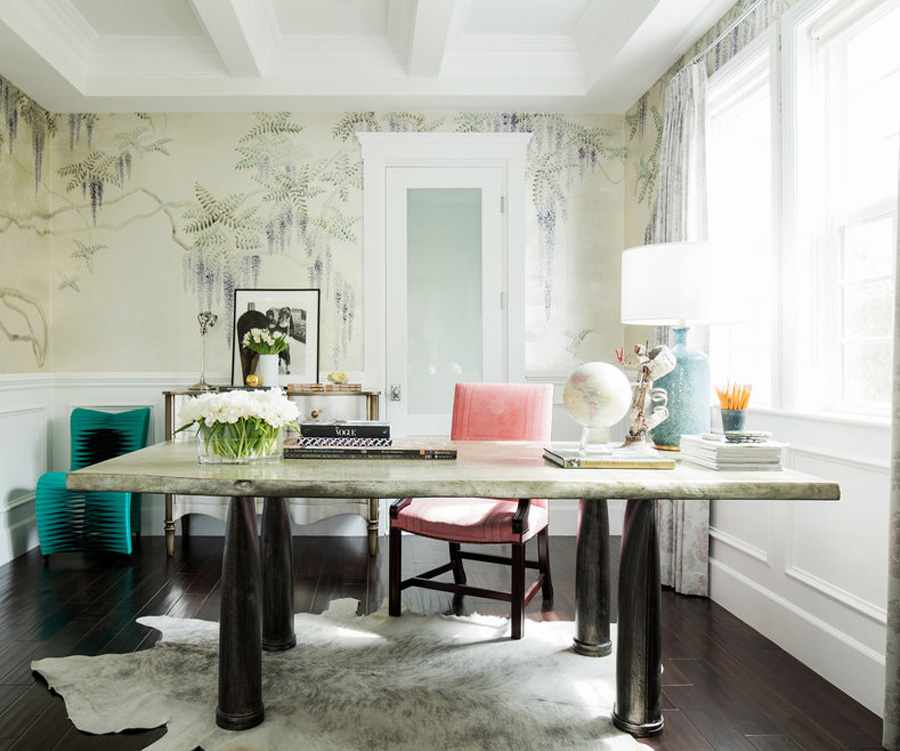 Rachel Roy home office de Gournay wallpaper pink chair OKL photo by Joe Schmelzer