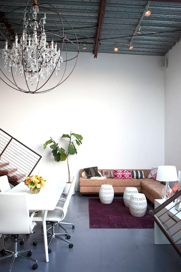 Mavens HQ Citrus Studios Kalika Yap office loft styled by Erika Brechtel Timothy Oulton chandelier corner sofa boho pillows garden stools