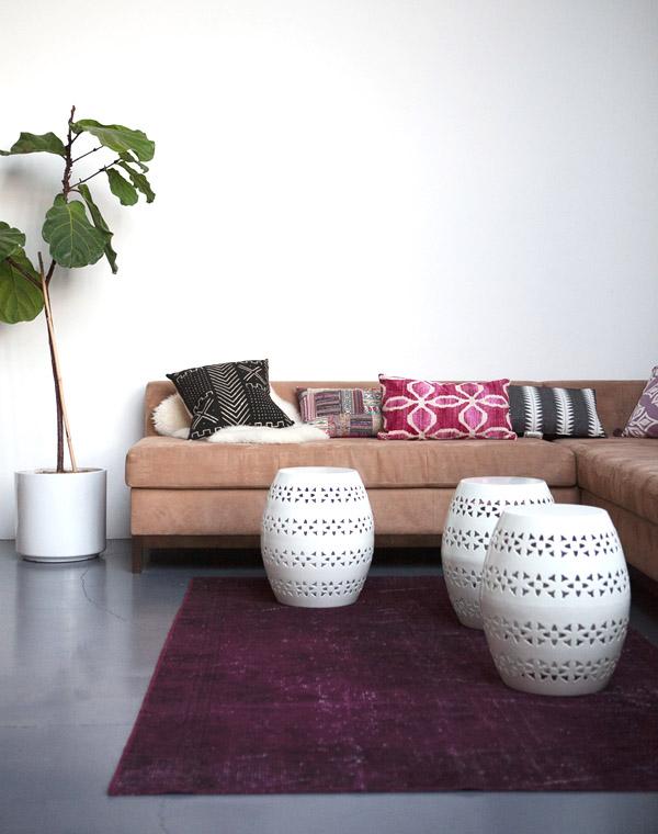 Mavens HQ Citrus Studios Kalika Yap office loft styled by Erika Brechtel corner sofa boho pillows garden stools overdyed rug fiddle leaf tree
