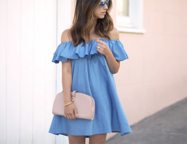 off the shoulder mini dresses summer trend via crystalinmarie