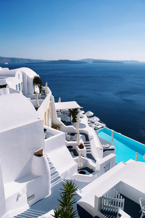 Greece Cyclades Santorini interiors architecture Katikies Hotel via my paradissi white building roof pool