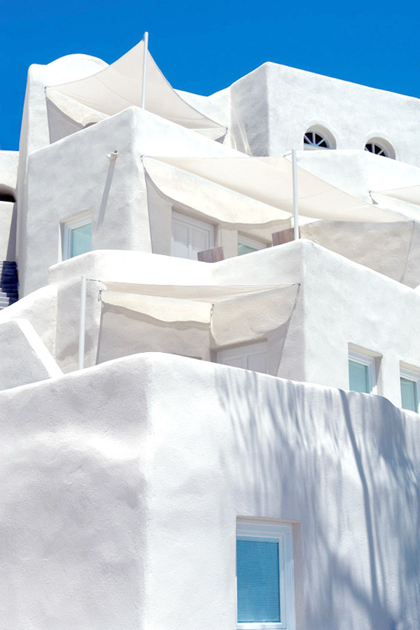 Greece Cyclades Santorini interiors architecture Mystique Hotel via Grecian paradise stepped exterior