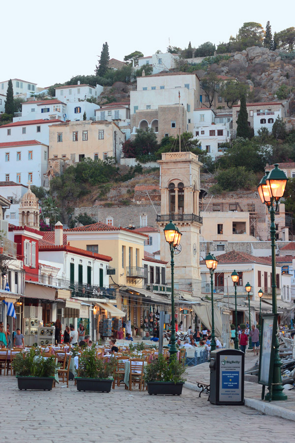 Greece Hydra Island Erika Brechtel hilltop homes restaurants shops