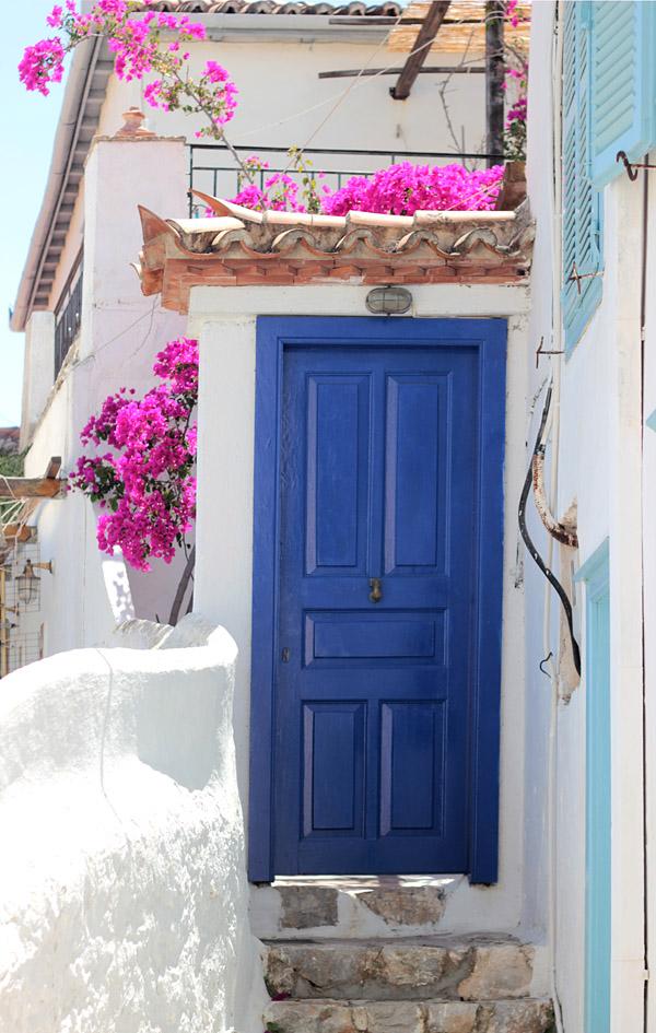 Greece Hydra Island Erika Brechtel hilltop streets white blue door bougainvillea