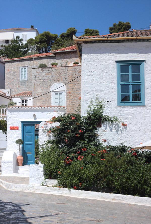 Greece Hydra Island Erika Brechtel hilltop streets white blue doors