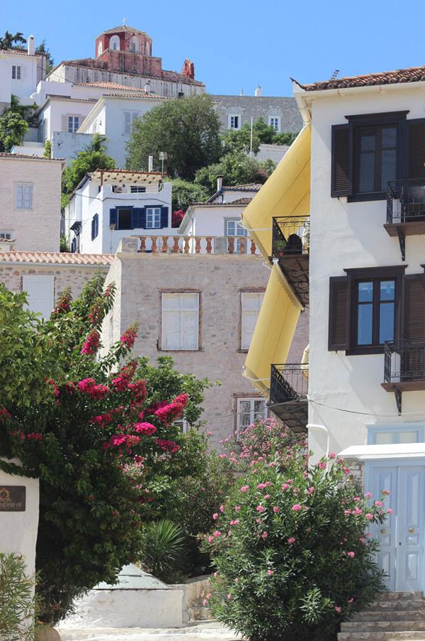 Greece Hydra Island Erika Brechtel hilltop streets white stone houses