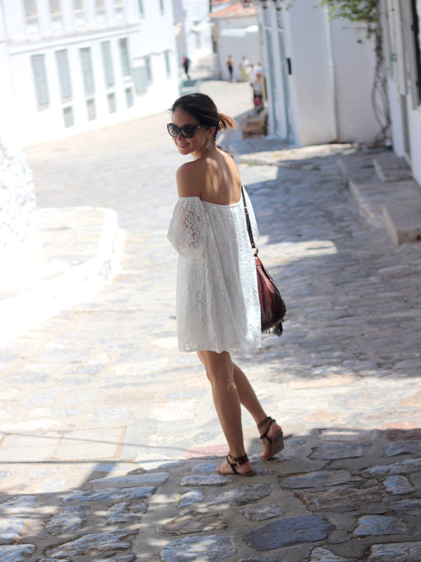 Greece white lace dress sandals fringe crossbody bag Hydra island Erika Brechtel