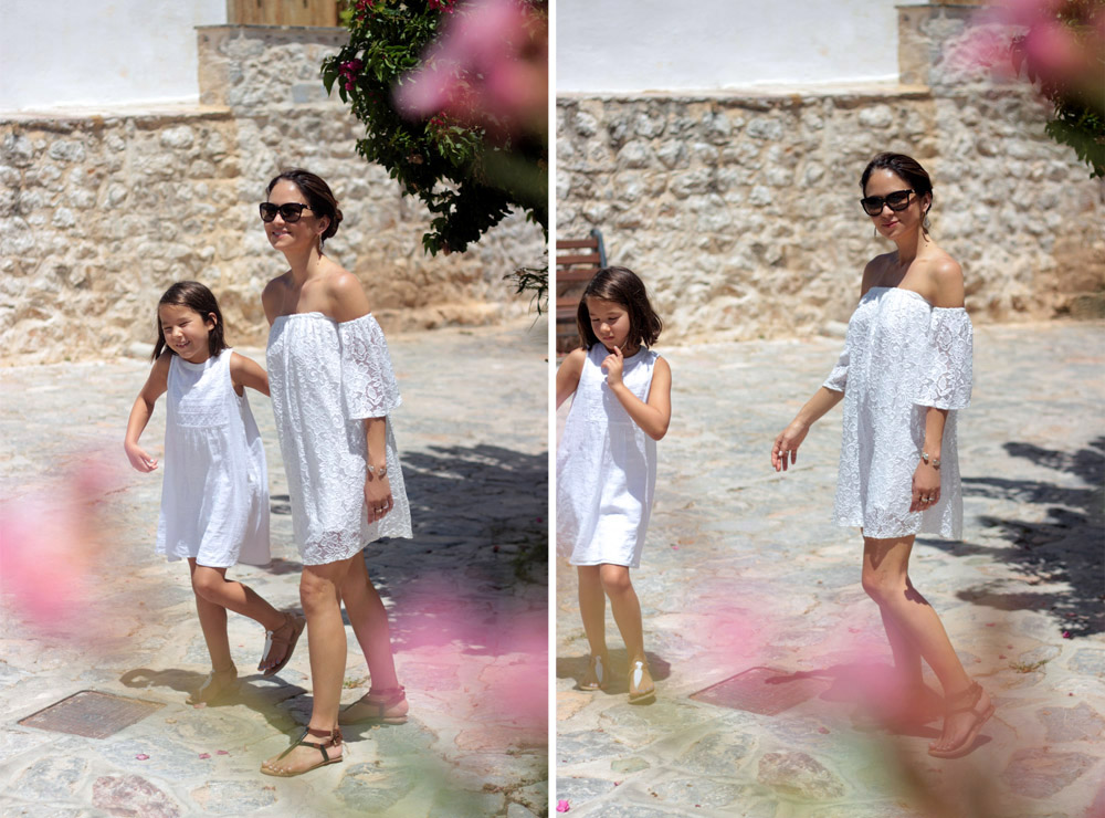 Greece white lace dresses Erika Brechtel mommy daughter Hydra island stone streets