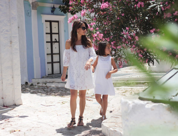 Greece white linen lace dresses Leith Old Navy Dolce Vita sandals Gucci Erika Brechtel mommy daughter Hydra island
