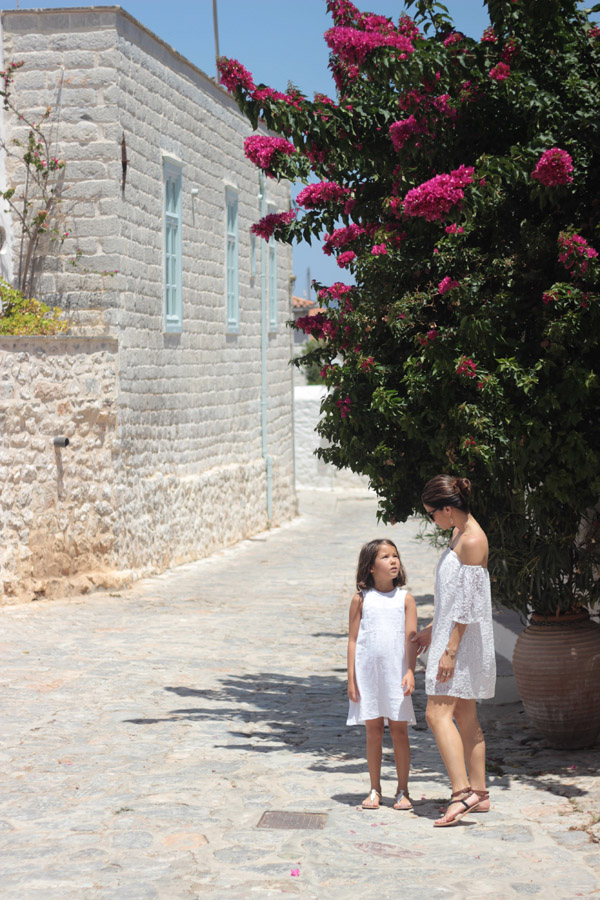 Greece white linen lace dresses sandals Erika Brechtel mommy daughter Hydra island streets quaint