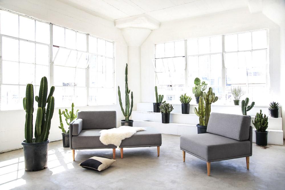 Capsule Home photo shoot Erika Brechtel photo by Tessa Neustadt LA loft cactus Knook sectional chair sofa ottoman sheepskin