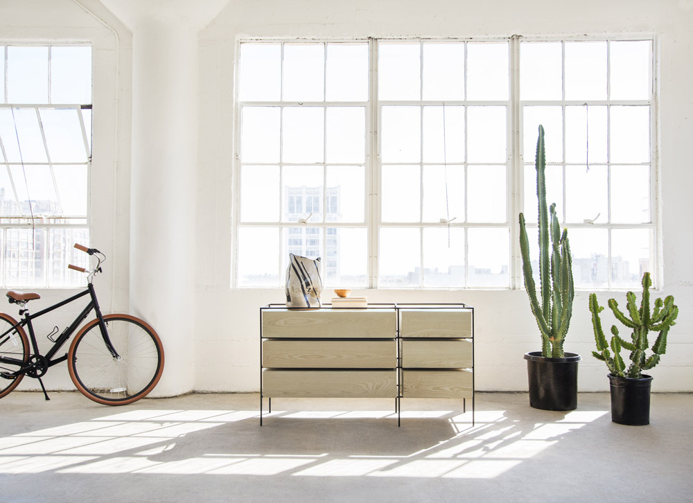 Capsule Home photo shoot Erika Brechtel photo by Tessa Neustadt LA loft open frame dresser cactus