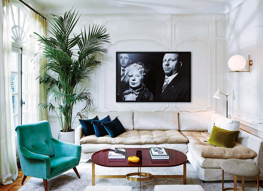 parisian-glam-laura-gonzalez-living-room-velvet-teal-navy-green-1970s-palm-tree-black-white-photography