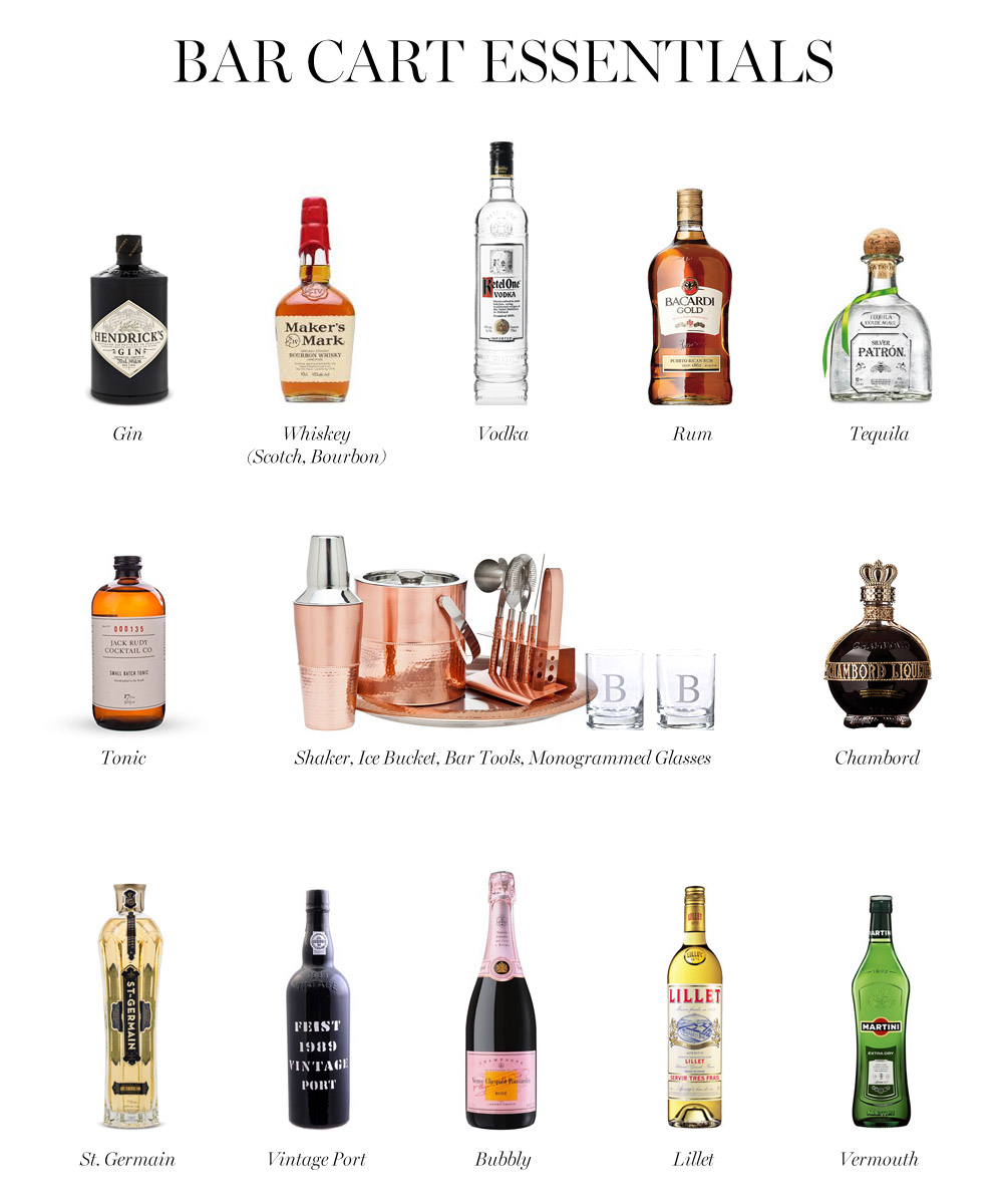 i like to be sure to have a bubbly on hand to start and a port to finish off the night - How To Style A Bar Cart